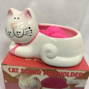 Vintage Cat Scouring Pad Holder New In Box